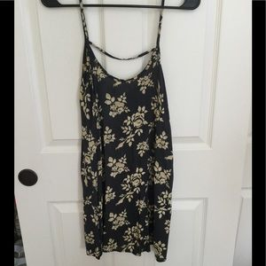 NWOT grayish blue and yellow dress with flowers